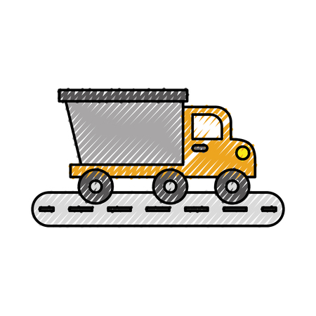 tipper truck construction street transport vector illustration