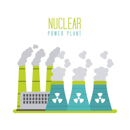 nuclear power plant energy station generation vector illustration