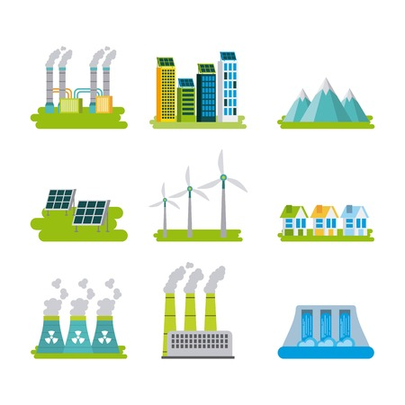 set of icons representing ecology environment renewable energies nature conservation vector illustration