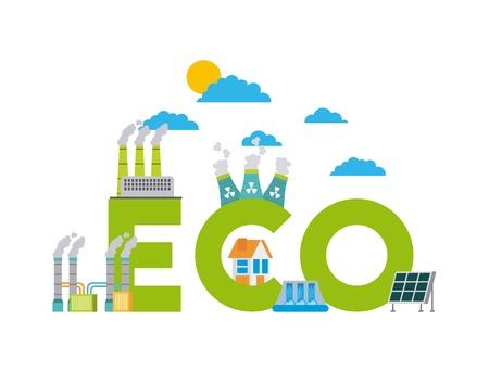 set di icone che rappresentano l'illustrazione di vettore di conservazione della natura di energie rinnovabili ambiente ecologia