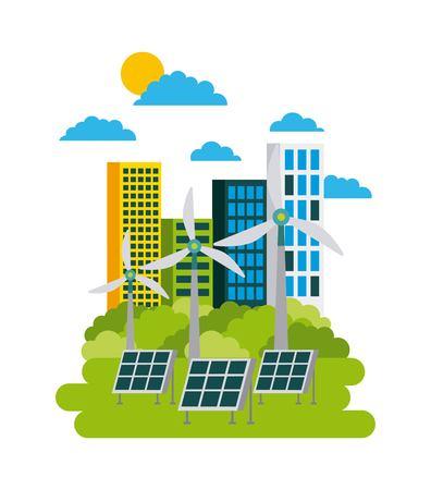 Illustrazione di vettore di concetto di protezione ambientale della città della città verde Archivio Fotografico - 86002353