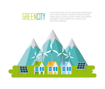 green city sustainable development with environmental conservation illustration Ilustração
