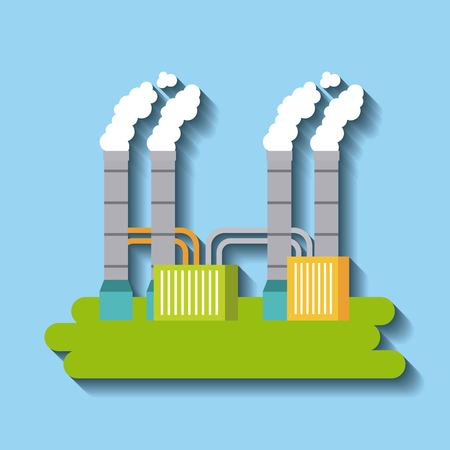 factory building green energy manufacturing and producing vector illustration