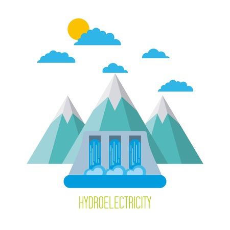 Energía hidroeléctrica ecológica energía limpia ilustración vectorial Foto de archivo - 86002358