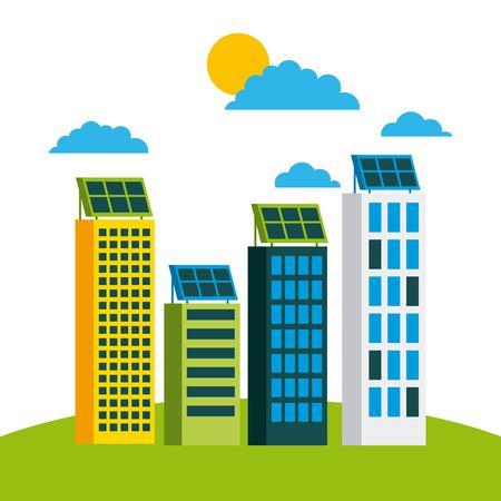 Illustrazione di vettore di concetto di protezione ambientale della città della città verde Archivio Fotografico - 86002359