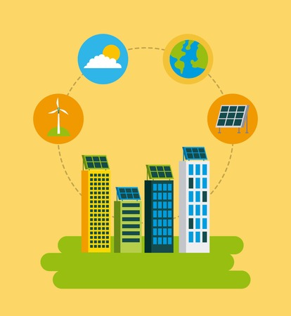 green city building environmental protection ecology concept vector illustration Ilustrace