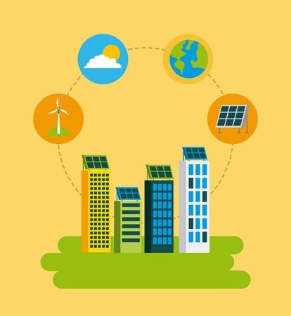 Green city building environnement environnement de protection concept illustration vectorielle Banque d'images - 86002364
