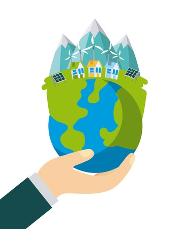 planet earth ecology and environment flat vector illustration