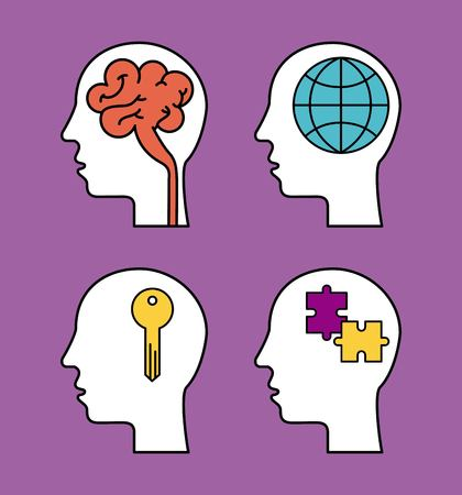 human silhouette head with brain globe puzzle and key vector illustration