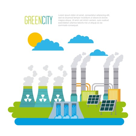 green city ecology energy environment vector illustration