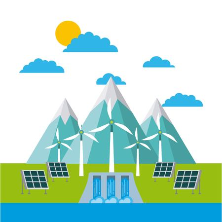 solar panels and wind turbines in front of the mountains eco green vector illustration