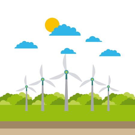 alternative sources of energy green energy windmills vector illustration Ilustração
