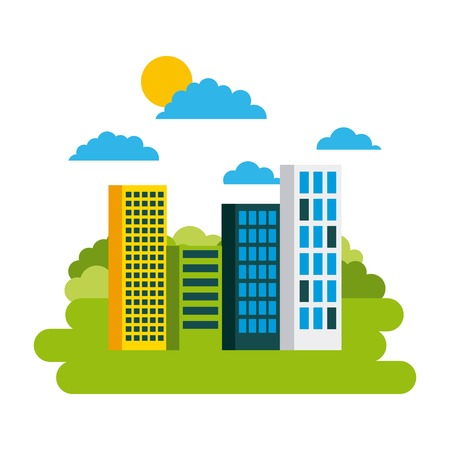 green city building environmental protection ecology concept vector illustration Illustration