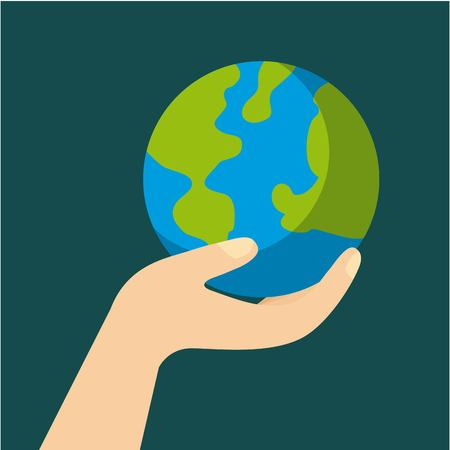 hand with planet earth ecology and environment flat vector illustration Ilustração