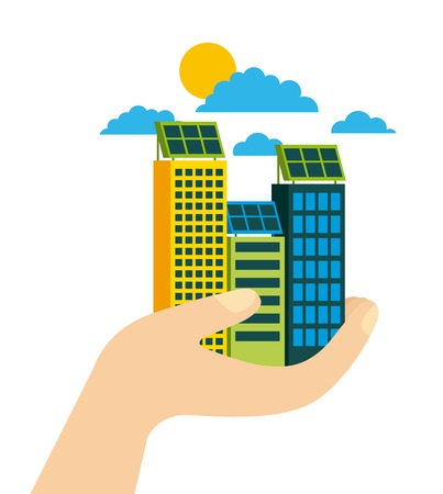green city building environmental protection ecology concept vector illustration Ilustracja