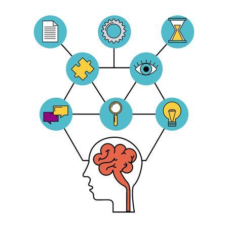 human head brain creative idea inspiration vector illustration Illustration