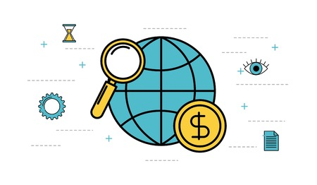 globe world magnifier money business vector illustration