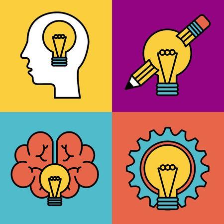 set of icons ideas creativity think knowledge vector illustration Çizim