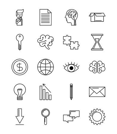 Satz Ideengeschäftskonzept-Vektorillustration der Ikonen kreative Standard-Bild - 86002400