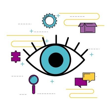 creatieve visie bericht chat innovatie puzzel vector illustratie Stock Illustratie