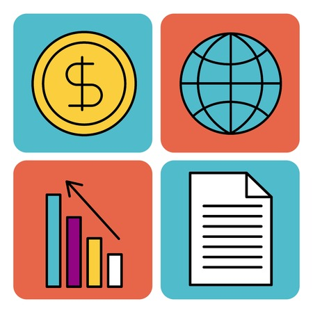 business work money gobal chart document vector illustration