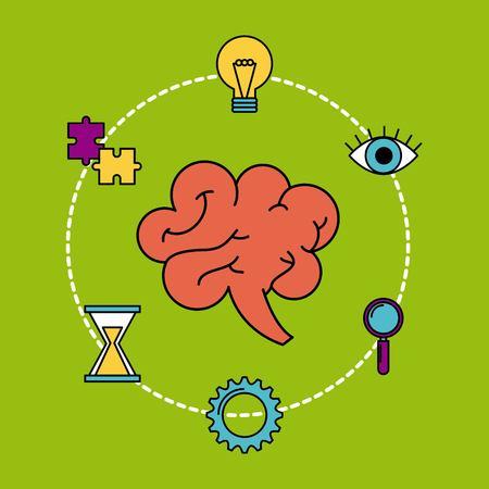 human brain creativity ideas business think vector illustration