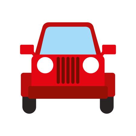 赤いジープ車車両輸送キャンプのベクトル図  イラスト・ベクター素材