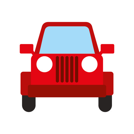 red jeep car vehicle transport camping vector illustration