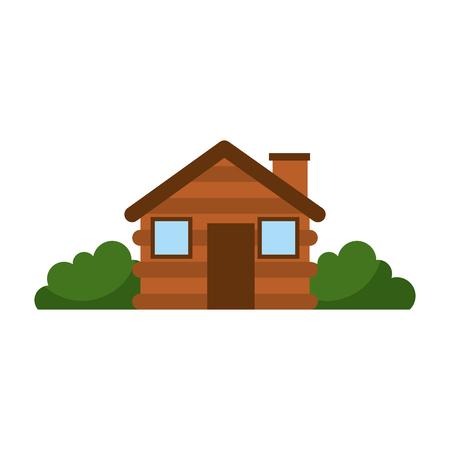 木製キャビン家煙突キャンプ ブッシュ外装ベクトル図  イラスト・ベクター素材