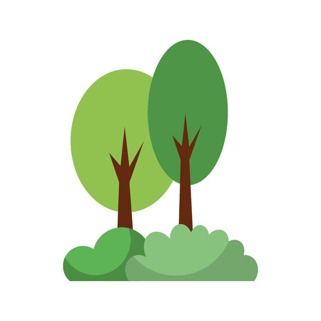 tree forest foliage wooden trunk natural vector illustration