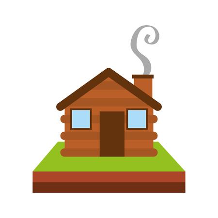 목조 오두막 집 굴뚝 캠프 잔디 벡터 일러스트 레이션