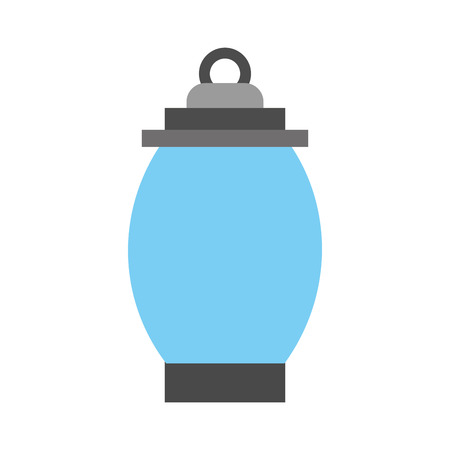 kerosene lamp light camping antique flat vector illustration