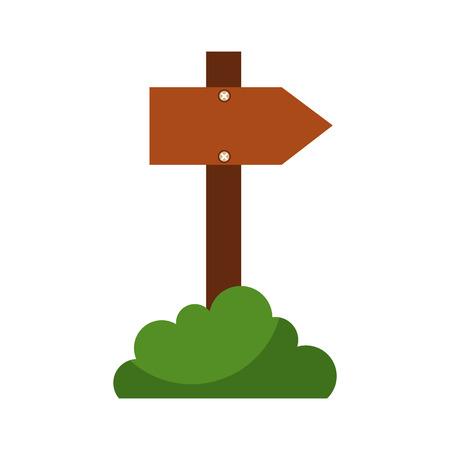 houten lege waarschuwing bord met bush natuurlijke vector illustratie