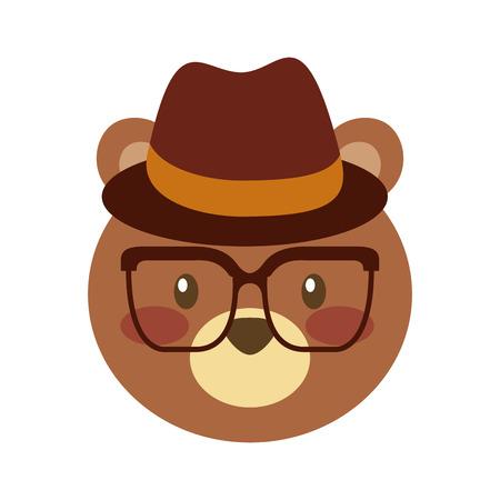 かわいいクマの帽子とメガネのベクトル イラスト動物を森します。