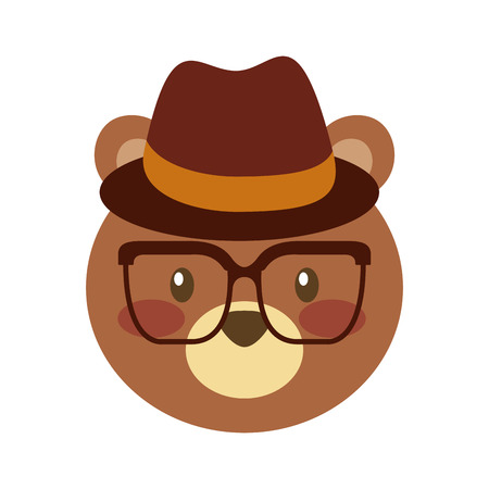 cute bear forest animal with hat and glasses vector illustration