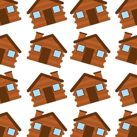 houten huis kamperen naadloze patroon afbeelding vector illustratie
