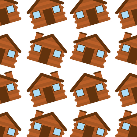 wooden house camping seamless pattern image vector illustration