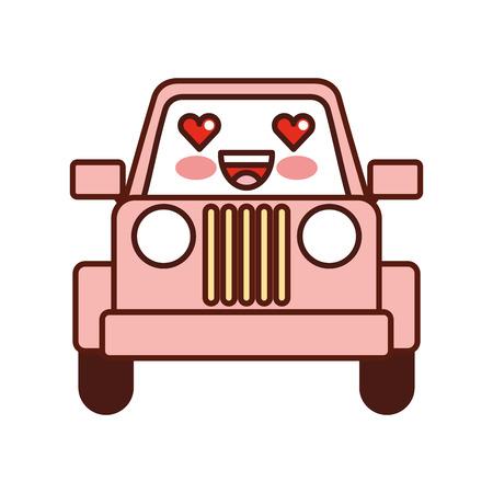 kawaii jeep car camping transport adventure vector illustration Illustration