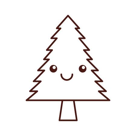 kawaii pine tree forest natural flora cartoon vector illustration