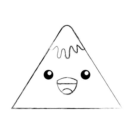 かわいい山ピーク自然雪漫画ベクトル図