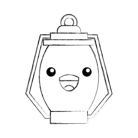 kawaii kerosene lamp camping cartoon vector illustration