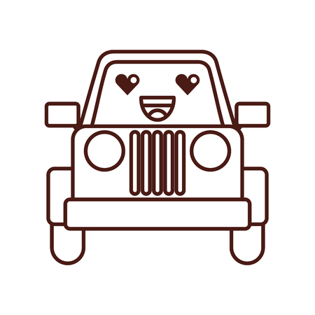 kawaii jeep car camping transport adventure vector illustration Illustration