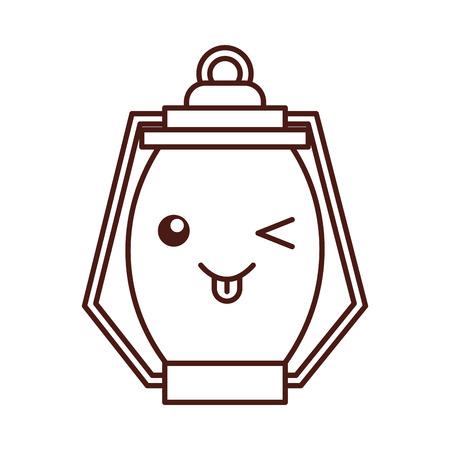 Kawaii Kerosinlampe camping Cartoon Vektor-Illustration Standard-Bild - 86002492