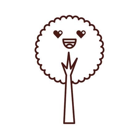 kawaii tree forest natural camping foliage vector illustration Illustration
