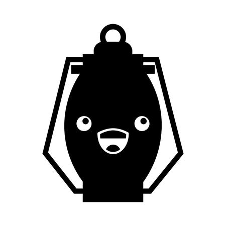 Ilustración de vector de dibujos animados de camping de lámpara de keroseno kawaii Foto de archivo - 86002496