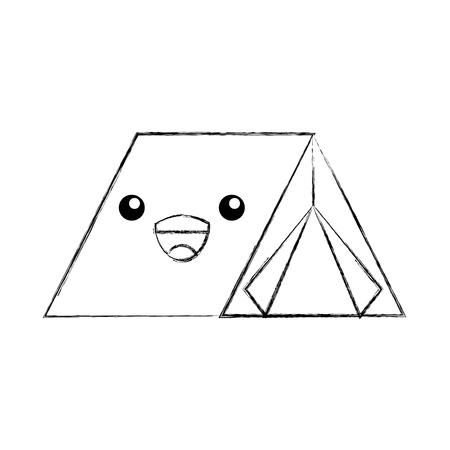 kawaii touristic camping tent cartoon image vector illustration
