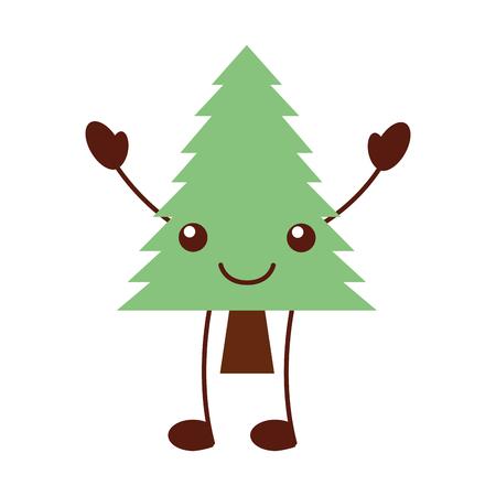 카와이 소나무 숲 자연 식물 만화 벡터 일러스트 일러스트