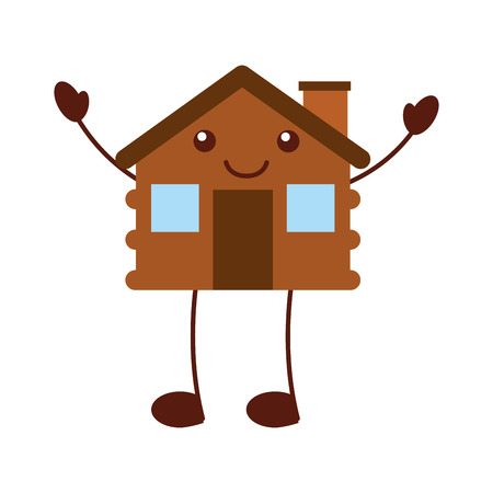 cartoon cabin house wooden chimney comic vector illustration
