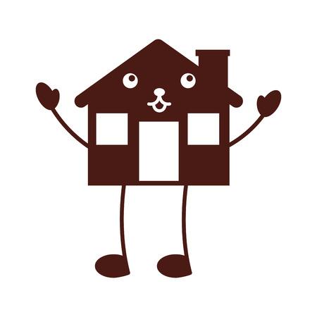 cartoon cabin house wooden chimney comic vector illustration