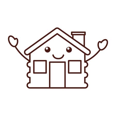 maison de cabine de dessin animé cheminée en bois illustration de vecteur comique Vecteurs